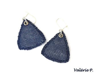 Earrings are made of imitation jeans polymer clay