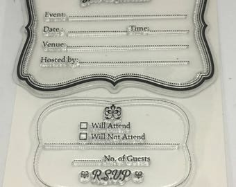 You're Invited Clear Stamp / Scrapbooking / Card Making Supplies / Clear Stamp Set / Party Invitations