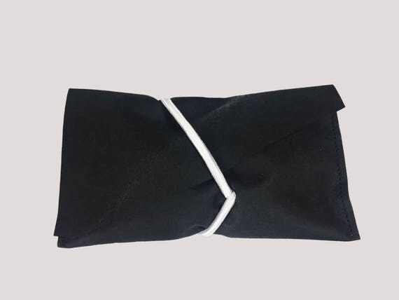 CLUTCH from Jacron black with white rubber band minimalist design Black evening bag