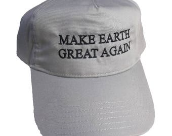 Make Earth Great Again Embroidered Grey 5 Panel Snapback Hat
