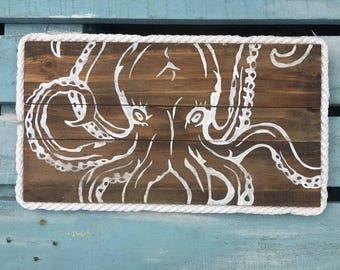 Octopus Pallet Art, Reclaimed wood art, Marine wood art, Ocean art, Marine art, Coastal Decor