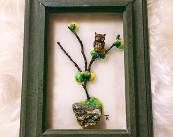 Vintage 3D Wall Art of Owl in Tree