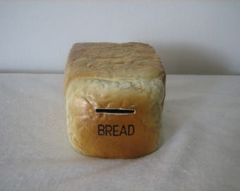 Bread Shaped Coin Bank Painted Plaster Or Stoneware