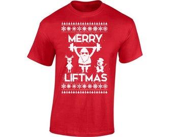 Merry Liftmas Shirt Merry Liftmas Christmas Shirt Merry Liftmas Ugly Christmas Tshirts for Men Workout Christmas Shirt Xmas Fitness Shirt