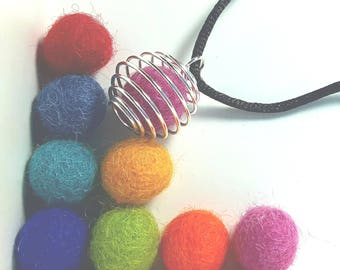 Essential Oil Diffuser with Six 100% Wool Beads - Necklace, Car Diffuser, Closet Guardian, Pantry Protector