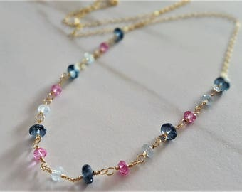London Blue Topaz And Gold Necklace, Real London Blue Topaz, Real Swiss Blue And Mystic Pink Topaz, Blue Topaz Jewelry, Blue Topaz Necklace