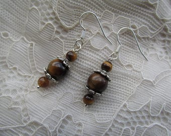 Silver tigers eye stone earrings