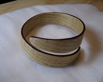 Quarter sawn Ash and Purpleheart bentwood bracelet