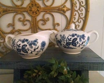 Vintage creamer and sugar~blur and white floral creamer and sugar~beautiful vintage creamer and sugar~japanese creamer and sugar