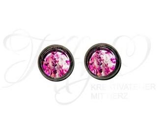 Earrings stainless steel * cabochon pink flowers 8 mm * pink flower * stainless steel * stud * earring