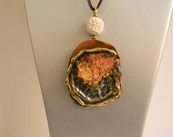 Pendant contemporary brass copper etain.travail craft