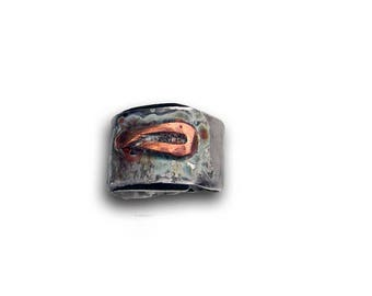 ring, Sterling Silver contemporary ring copper, antique blue ring tribal ring, artist, woman, size 55cm, ring Designer.