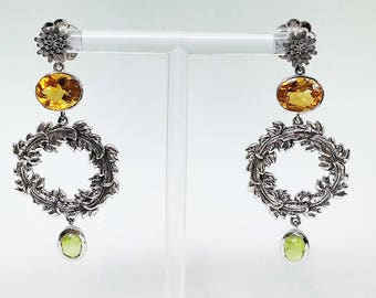 Falling Leaves-Yam Daisy long earrings set with Peridot and Citrine gems