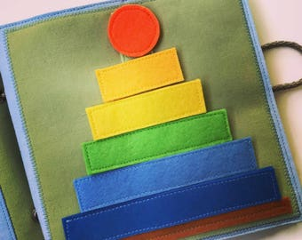 Busy book PAGE, activity book, montessori towel, rainbow, quietbook for kids, toddlers