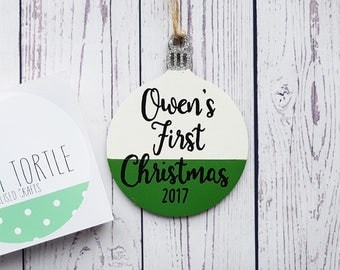 Baby's first christmas decoration, personalised christmas decoration, christmas bauble decoration, wooden decoration, personalised xmas tree