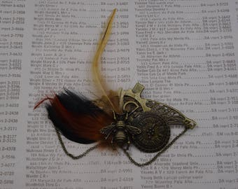 Steampunk gear bee Rooster feather hair clip