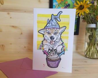 Corgi Birthday Card/ Corgi in a Shark Hat Card/ Corgi Cupcake Card/ Corgi Party Card/ Blank Corgi Card/ Shark Hat Cupcake Card/ Birthday