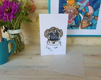 Princess Leia Pug/ Leia Pug Card/ Pug Dog Greeting Card/ Pug Greeting Card/ Pug in Cosplay/ Starwars Cosplay Art/ Pugs in Costume/ Dog Card