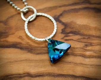 Bermuda Blue Swarovski Triangle Crystal on Sterling Silver Round Hoop Pendant