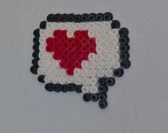 Message heart magnet made of fuse beads