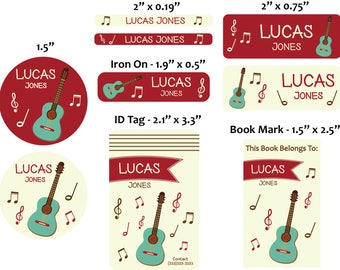 Personalized guitar back to school set stickers/Id tag/20 iron on clothing labels/5 magnet bookmarks/personalized waterproof label/labels