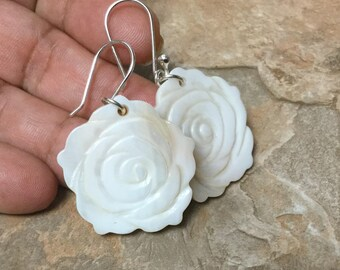 Mother of Pearl  Earrings, White  Earrings, Sterling Silver  Earrings, Flowers Earrings, Women Earrings