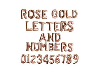 Rose Gold Balloons / Banner - Wedding Balloons, Engagement Party Decorations, Anniversary, Baby Shower Decorations - foil letters & numbers