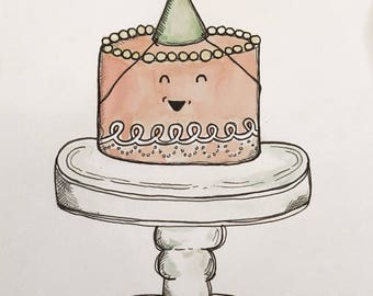 Excited Cake Birthday Card