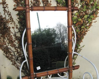 A Very Nice Vintage French Faux Bamboo Mirror