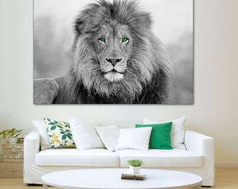 Genial African Lion, Black And White Lion Print, Canvas Print. Lion Wall Art,