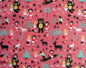 Organic fabric Poplin animals and young girls on pink background