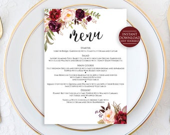 "Editable Menu Template, Wedding Menu Template, Menu Printable, Menu Cards, Editable Wedding Menu, Marsala Wedding Menu, 5""x7"" Menu Printable"