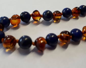 Amber Healing Necklace  for Children ( Amber and Lapis Lazuli)