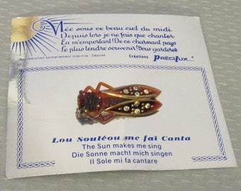 """vintage French RHINESTONE CICADA PIN torty root beer plastic Paris lucky bug brooch 1.5"""" on card"""