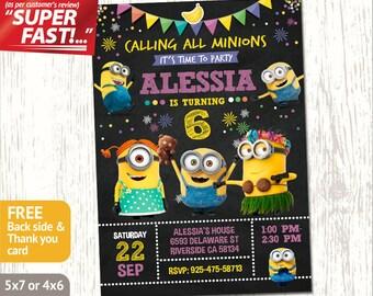 MINION INVITATION, Minion Birthday Invitation, Girl Minion Invitation, Minion Party Invite, Minion Birthday Party Invite, Minion Invite, v1g