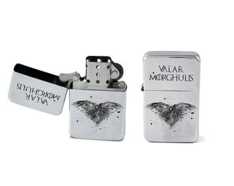 Windproof Lighter Game of Thrones Valar Morghulis Fliptop Chrome Cigarette Steel