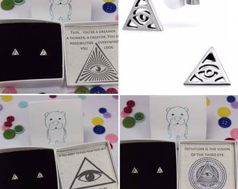 "Personalised 925 Sterling Silver Ear Studs Earrings ""Illuminati"" With Box"
