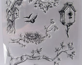 Clear stamps - birds - tree branch - bird nest - bird house - 11 stamps