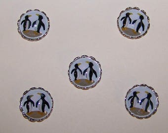 5 Vintage  Glass PENGUIN Cabochons  with Silver Tone  FINDINGS  13mm --PENGUIN   Embellishments