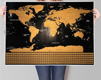 Scratch off map etsy gold and black w separated states and country flags free shipping scratch map gumiabroncs Image collections