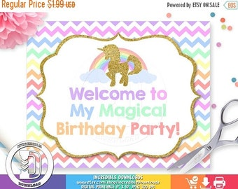 ON SALE Unicorn Welcome Sign, Unicorn Birthday Sign, Rainbow, Unicorn Birthday Party Sign, Door Sign, Birthday party decorations INSTANT Dow