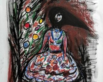 Original Modern Art The Christmas Dancer in Crow Costume; oil pastel on paper; 14x11 inches; Ballet series, 2017; Sheri Larsen