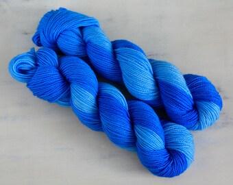Hand Dyed Tonal Yarn Sock Twist Superwash Wool 80/20 - LAPIS
