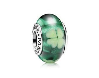 New Pandora Kiss Me I'm Irish Green Murano Glass Charm 790927 Luck