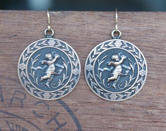 Flying Cherub Cupid Pendant earrings French Brass French Findings Stampings