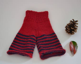 Hand knitted from 100% virgin wool Waldorf doll clothes Steiner doll clothes Waldorf doll trouser Steiner doll trouser knit stripes red blue
