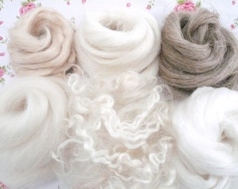 Mohair Locks, Mixed Fibre Pack, Creative Fibres, Mixed Spinning Fibres, Felting Fibres, Nuno felting, Mohair Doll Hair, Effect Fibres.