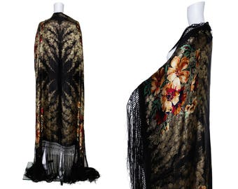 1920s Black and Gold Floral Lamé Shawl