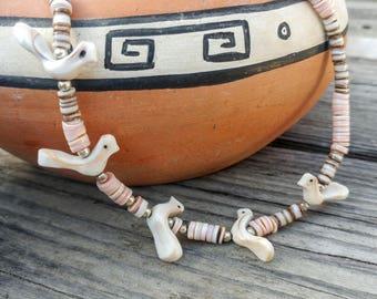 Vintage Bird Fetish Necklace //Heishi Shell Choker // 70s Pink & Brown Boho Hippie Necklace