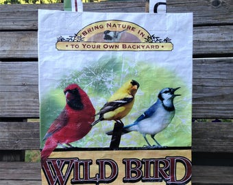 Recycled Feed Bag Tote, reusable tote bag, grocery tote, recycled shopping bag, reusable grocery bag, recycled tote bag, wild bird, birds